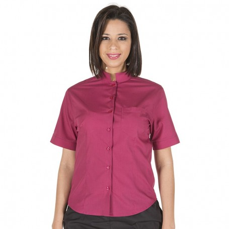 Camisa M. Corta con cuello mao en colores de mujer