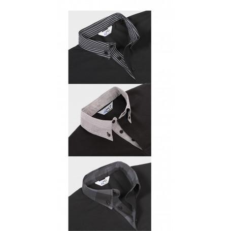Polo Mujer manga corta cuello estampado gris-negro