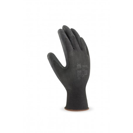 Pack 12 guante de nylon color negro con recubrimiento de látex en color negro