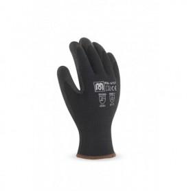 Pack 12 guante de nylon con recubrimiento de látex en color negro.