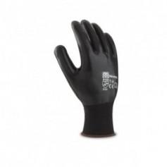 Pack 12 guantes de nitrilo y poliéster color negro para manipulación y riesgos mecánicos