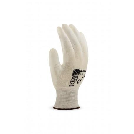Pack 12 guante de poliéster. Palma y dedos recubiertos de poliuretano.