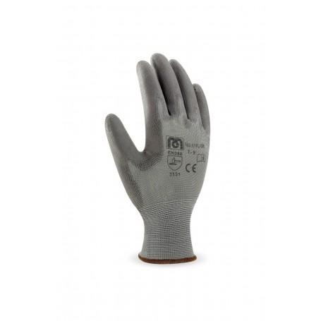 Pack 12 guante de poliéster color gris con recubrimiento de poliuretano.