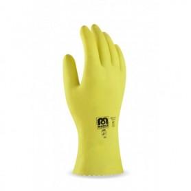 Pack 12 guante de látex en color amarillo para riesgos mecánicos superficiales