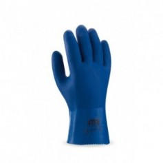 Pack 12 guante de PVC estanco de 27 cm. en color azul de doble capa rugosa