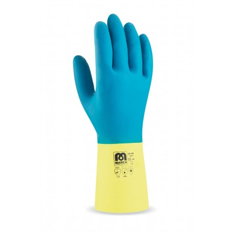 Pack 12 guante bicolor con refuerzo de neopreno.