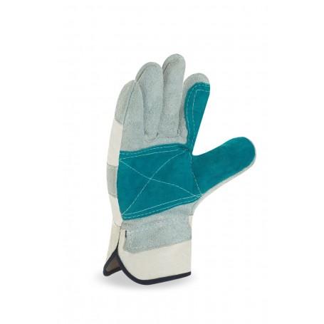 Pack 12 guante tipo americano mixto de serraje vacuno lona reforzado en palma.