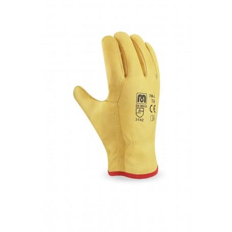 Pack 12 guante tipo conductor flor vacuno amarillo con ribete.