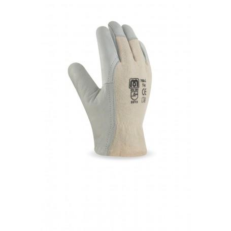 Pack 12 guante tipo conductor piel flor vacuno y dorso de punto de algodón.