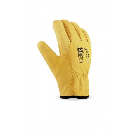 Pack 12 guante tipo conductor piel flor vacuno con forro interior para abrigo.
