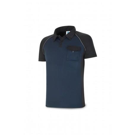 POLO manga corta tejido técnico azul/negra con bolsillo