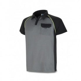 POLO manga corta tejido técnico gris/negra con bolsillo