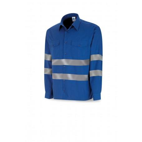 Manga Larga. Camisa azulina algodón con bandas reflectantes