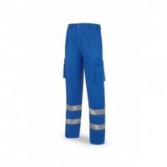 Pantalón azulina algodón 245 g. con bandas reflectantes
