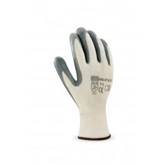 Pack 12 guante de poliéster color blanco con recubrimiento de nitrilo.