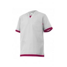 Camisa o pijama sanitario de manga corta bicolor