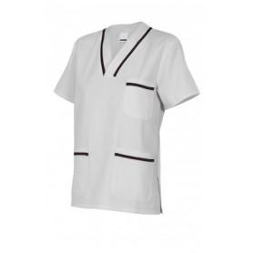 Camisola bicolor o pijama de manga corta con escote en pico