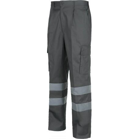 Pantalón de algodón con cintura elástica, multibolsillos y 2 cintas reflectantes.B1447