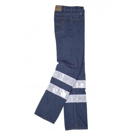 Pantalón vaquero con cintas refelctantes de 7 cm.B4007