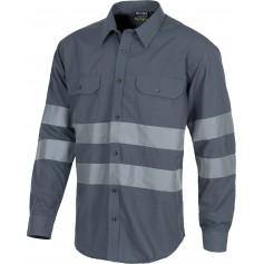 Camisa manga larga con 2 bolsos de pecho y cintas reflectantes.B8007