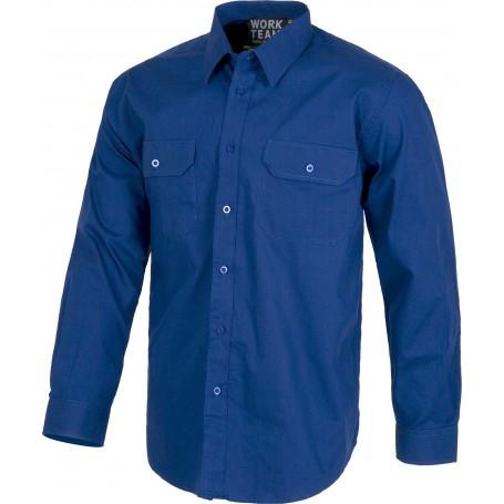 Camisa manga larga, dos bolsos de pecho con carteras. 100% Algodón.B8200