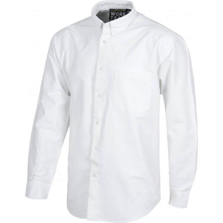 Camisa de manga larga con un bolso de pecho tejido oxford.B8400