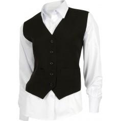 Chaleco de mujer entallado con dos bolsillos y cierre de botones.B9030