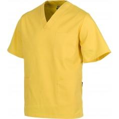 Casaca sanitario cuello de pico manga corta, un bolso de pecho, dos bolsos bajosB9200