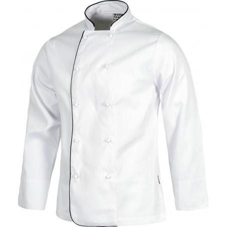 Chaqueta de cocina con vivos a contraste y botones de seguridad.B9206