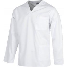 Casaca sanitario cuello de pico manga larga, un bolso de pecho, dos bolsos bajosB9210