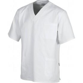 Casaca cuello de pico, manga corta, un bolso de pecho, 2 bolsos bajos, 100% Algodón.B9211