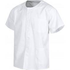Casaca sanitario botones manga corta, un bolso de pecho y dos bajos.B9400