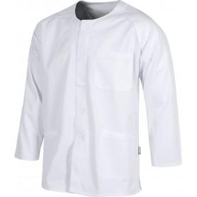 Casaca sanitario botones manga larga, un bolso de pecho y dos bajos.B9410