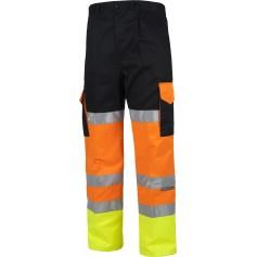 Pantalón multibolsillos de alta visibilidad y cintas reflectantes. EN ISO204712013.C3216