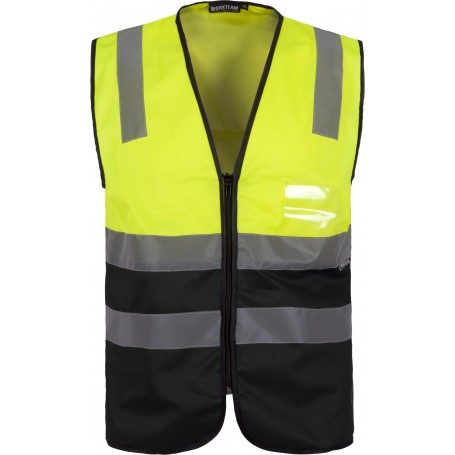 Chaleco bicolor con cierre de cremallera y cintas de alta visibilidad. EN ISO 204712013C3615