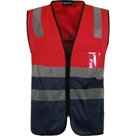 Chaleco bicolor rojo A.V. con cierre de cremallera y cintas de alta visibilidad. EN ISO 204712013C3617