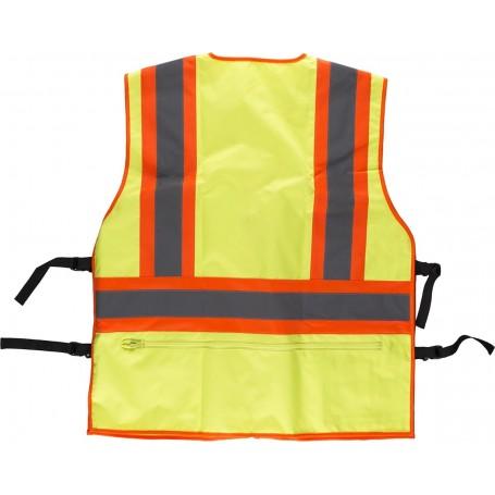 Chaleco alta visibilidad, multibolsillos, cintas reflectantes bicolores verticales y horizontales.C3622
