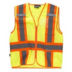 Chaleco alta visibilidad, multibolsillos, cintas reflectantes bicolores verticales y horizontales.C3623
