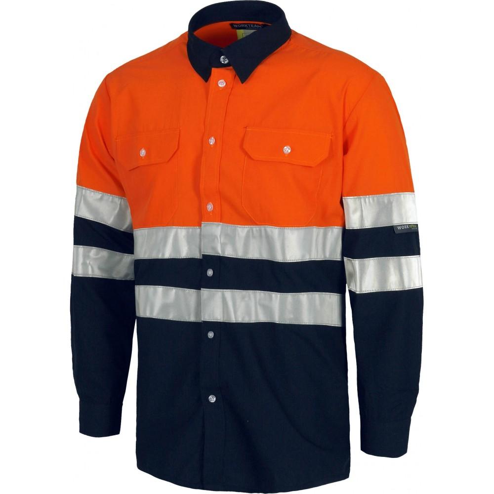 Camisa combinada AV con cintas reflectantes, manga larga