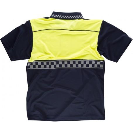Polo Policía manga corta combinado, con cinta reflectante termosellada y charreteras en hombros.C3855