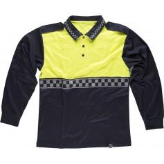 Polo Policía manga larga combinado, con cinta reflectante termosellada y charreteras en hombros.C3856