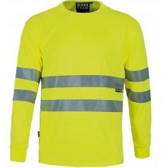 Camiseta cuello caja, manga larga, alta visibilidad, cintas reflectantesC3933
