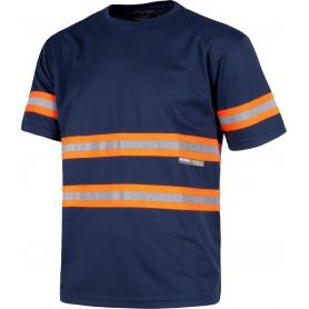Camiseta manga corta, cuello redondo, cintas reflectantes combinadas.C3936