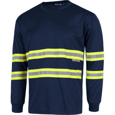 Camiseta manga larga, cuello redondo, cintas reflectantes combinadas.C3937