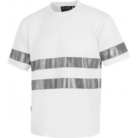Camiseta cuello caja, manga corta, cintas reflectantes.C3939