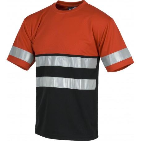 Camiseta cuello caja, manga corta, bicolor, 2 cintas reflectantes en pecho y espalda y una en mangasC3940
