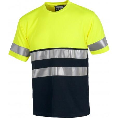 Camiseta manga corta combinada A.V. con cintas reflectantes. EN ISO 204712013C3941