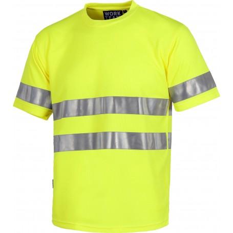 Camiseta cuello caja, manga corta, cintas reflectantes. EN ISO 4712013C3945