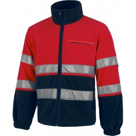 Polar rojo A.V. combinado, cierre de cremallera, dos cintas reflectantes en torso y mangas.C4027