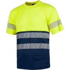 Camiseta manga corta combinada, sin bolsillos, con dos cintas reflectantes discontinuas.C6040
